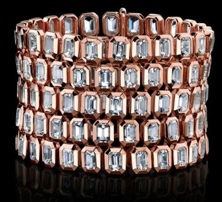 """Bracelet """"Style of Jolie"""" avec 5 rangée de quartz blanc"""