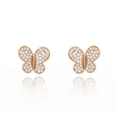 Boucles d'oreilles papillons en or et diamant Morganne Bello