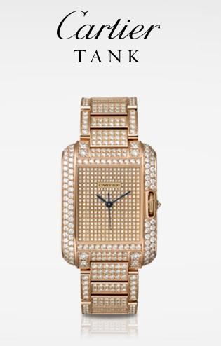 Montre Cartier de la collection Tank Anglaise en or rose sertie de diamants