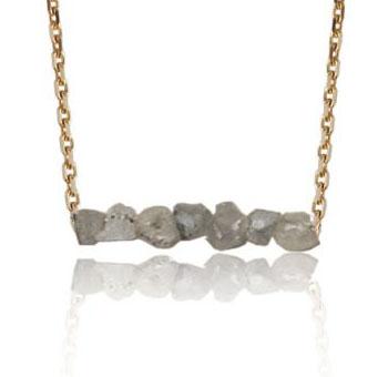 Collier diamant brut blanc