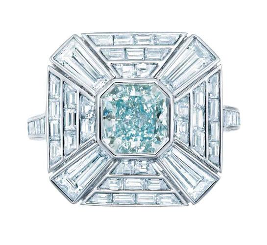Bague art déco diamant turquoise