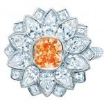 Bague fleur diamant orange