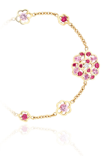 Bracelet Camélia Saphir Rose