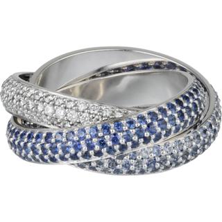 Bague Trinity Saphir bleu et diamant