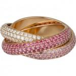 Bague Trinity Saphir rose et diamant