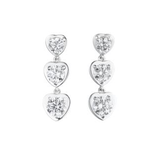 Boucles d'oreilles diamants legers motif coeur