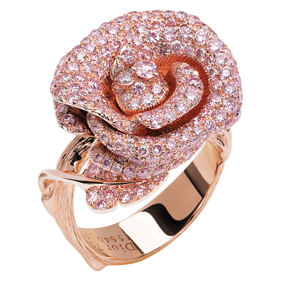 Bague Rose Dior Bagatelle or rose et diamant rose