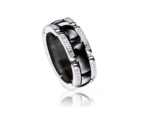 Bague Ultra céramique noir et blanc or blanc et diamant