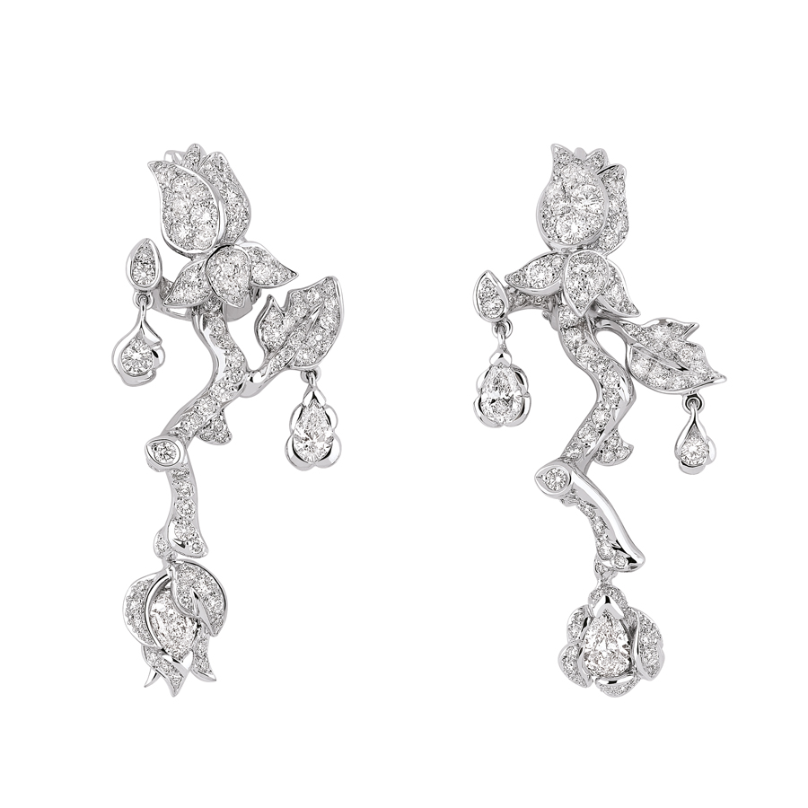 Boucles d'oreilles Rose Dior Bagatelle or blanc diamant