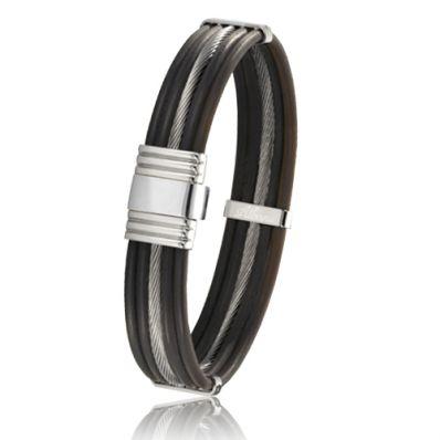 Bracelet en corne de Buffle et câble d'acier