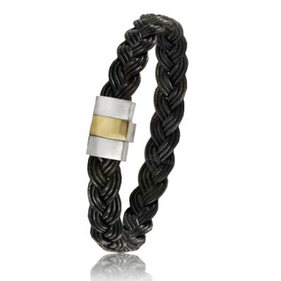 Bracelet en cuir noir, fermoir en or et acier