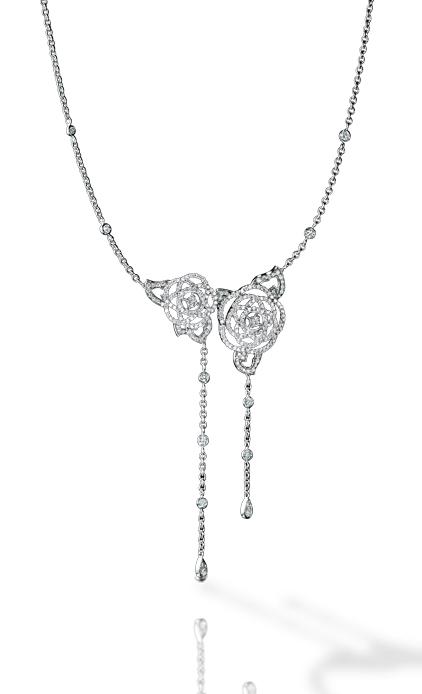 Collier Camélia or blanc et diamant