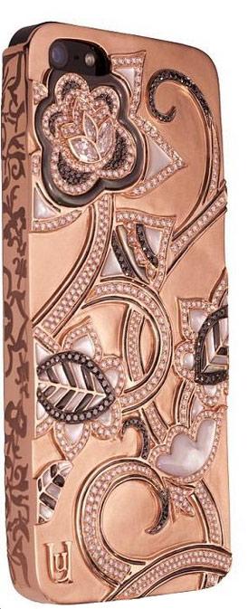 Une Coque D Iphone 5 Avec Des Lotus En Diamants Sur De L Or Rose