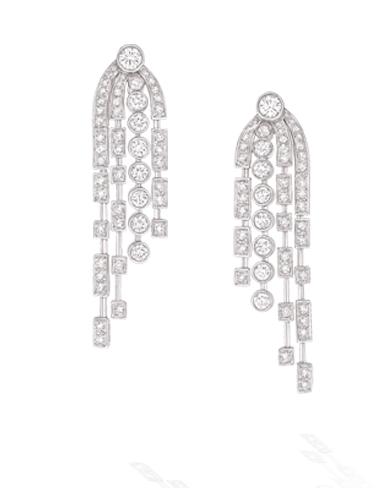 Motifs oreilles 1932 or blanc et diamant