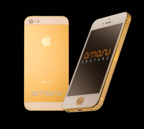 iPhone 5 Gold Swarovski Amosu Couture
