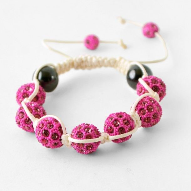 Bracelet shamballa strass rose et cordon blanc