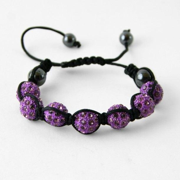 Bracelet shamballa strass violet