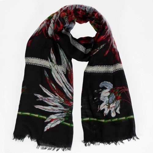 Foulard noire motif plume indienne