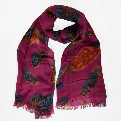 Foulard uni motif plume
