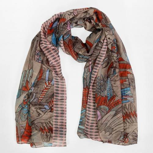 Grand foulard multicolore impression perroquet