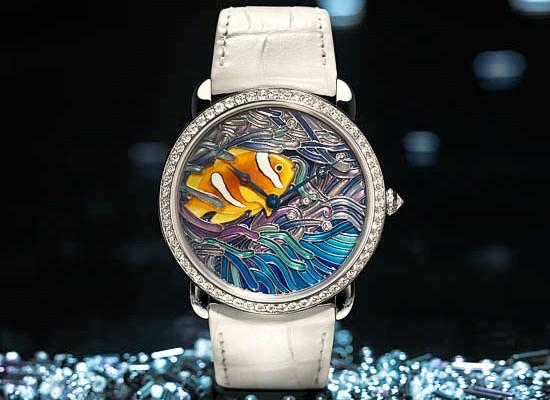Montre poisson et corail par Cartier