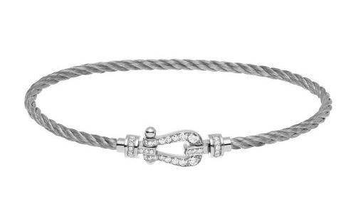 Bracelet Force 10 acier tressé, or gris et diamant