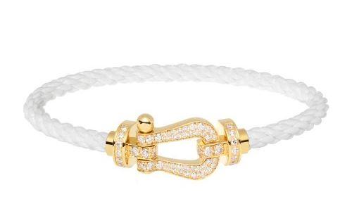 Bracelet Force 10 or jaune diamant et câble blanc