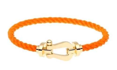 Bracelet Force 10 or jaune et câble orange