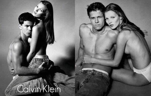 Calvin Klein publicité avec Kate Moss et Mark Walhberg