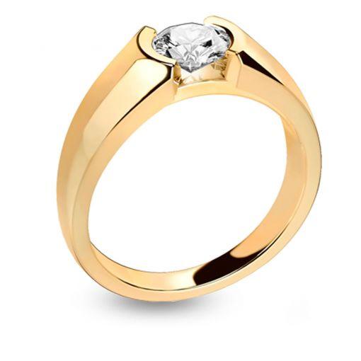 solitaire diamant or jaune