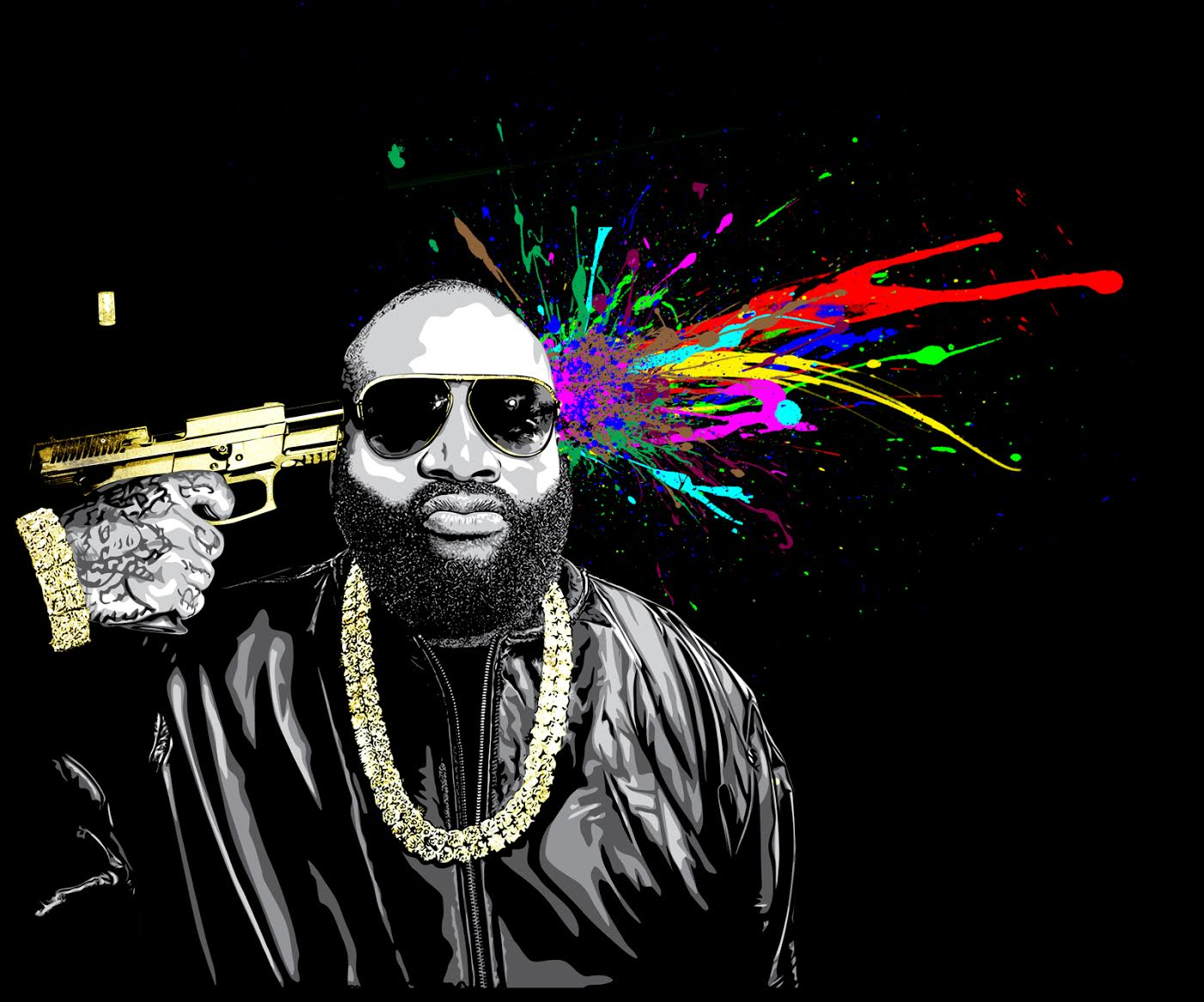 Mr Brainwash dessine la pochette de Rick Ross